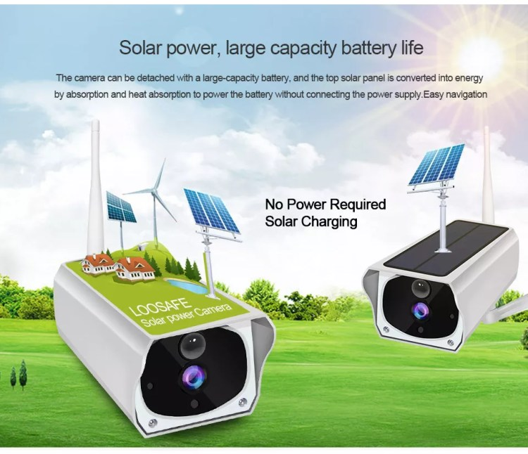 High Clear Waterproof Smart Rechargeable Night Vision Surveillance Outdoor HD 1080P Solar Powered IP Wireless CCTV Wifi Camera