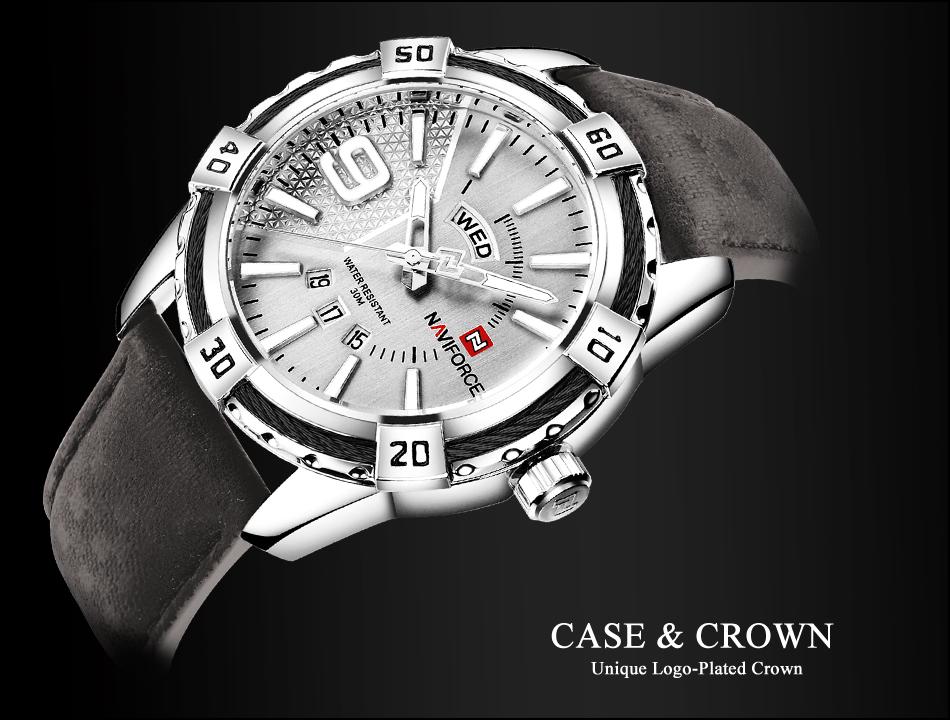 NAVIFORCE Top Luxury Brand Men Quartz Watch Army Military Sport Business Watches Week Analog Display Male Clock Waterproof Hour