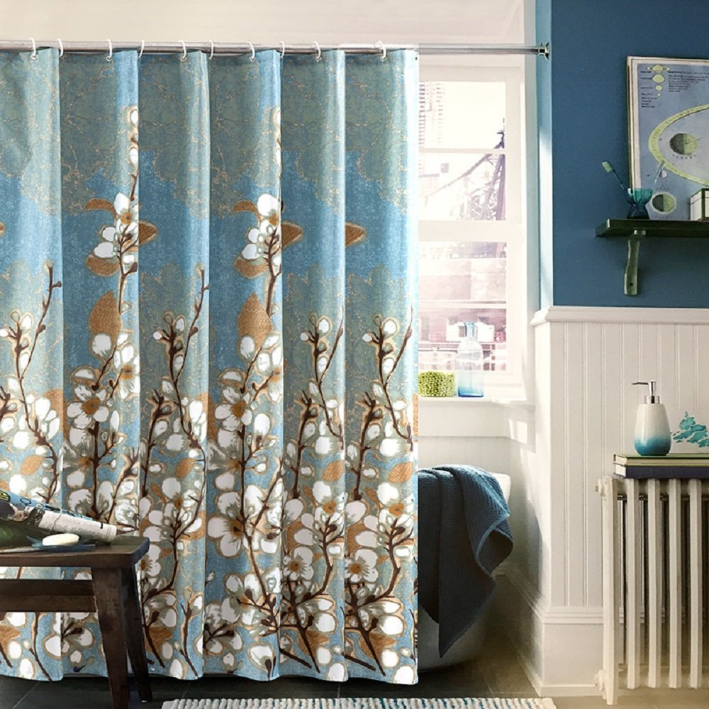 cheap blue and brown shower curtains