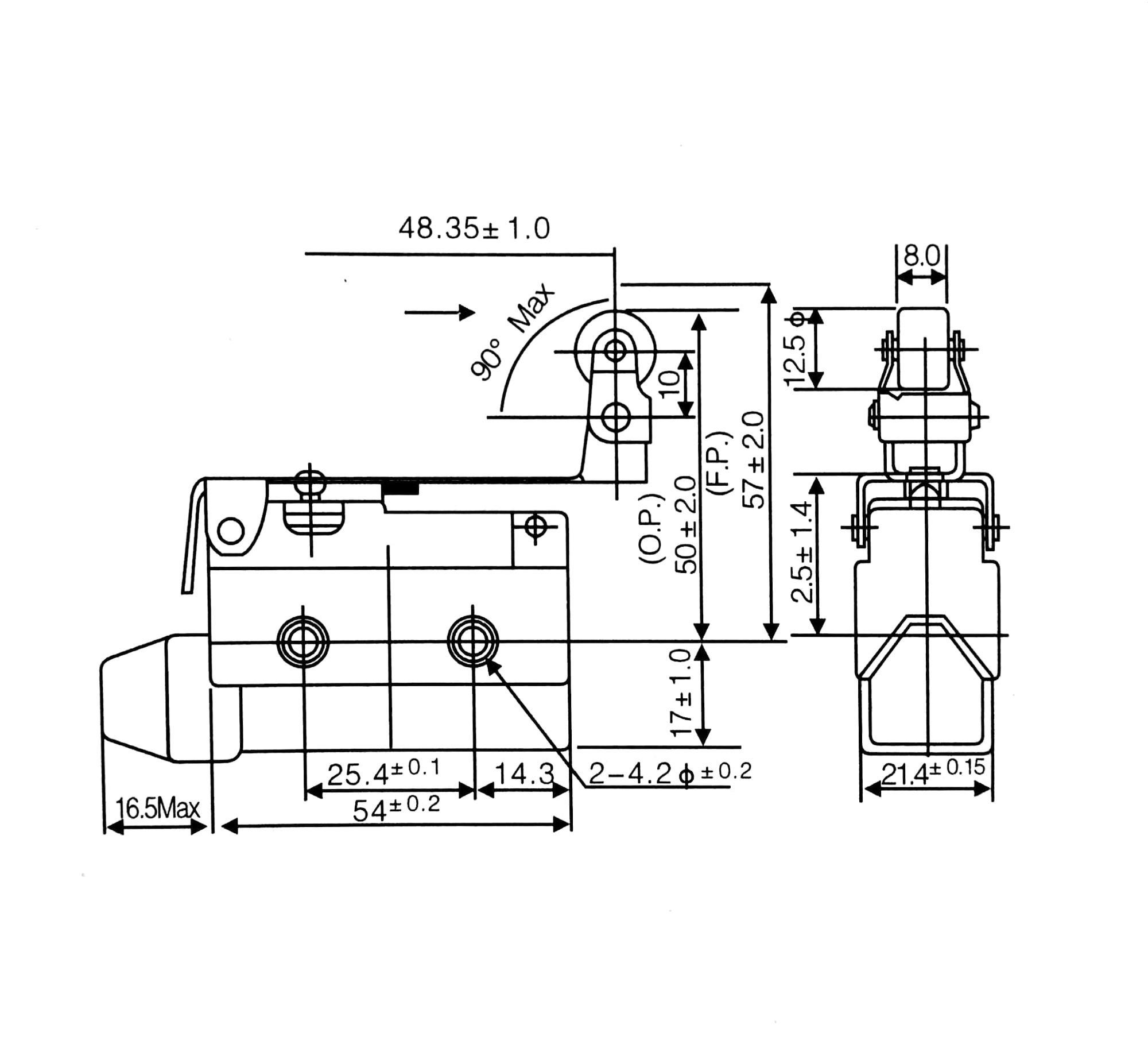 Az Waterproof Normal Close Roller Lever 250vac 10a