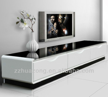 Modern White High Gloss Mdf Tv Stand With Tempered Glass