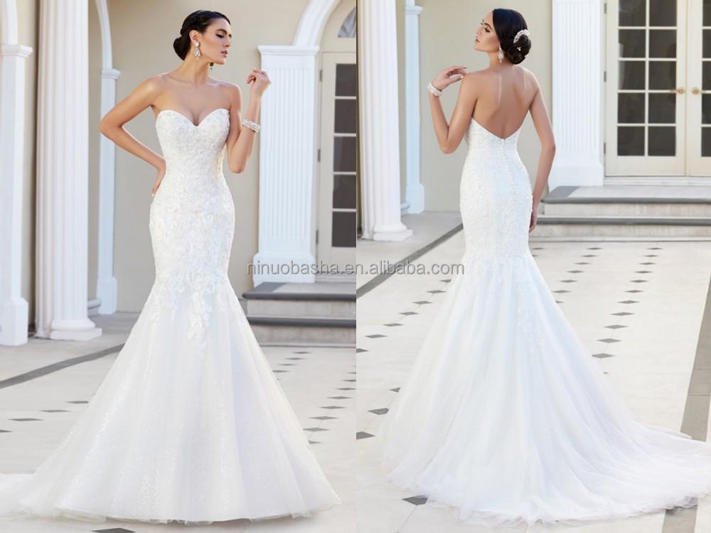 2015 Custom Fit Mermaid Wedding Dress Strapless Sweetheart