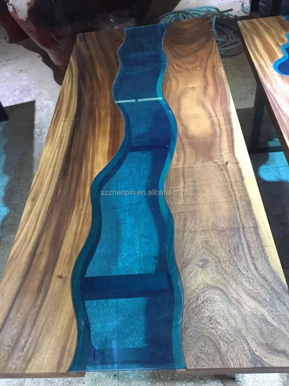 Prefinished Solid Slab Wood Table Top Live Edge Slab Table