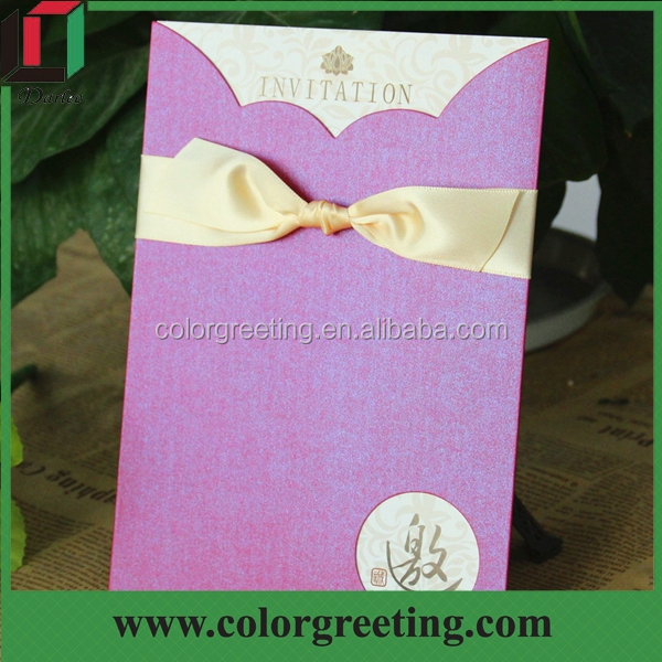 2016 Simple Purple Bengali Handmade Wedding Invitation Card With Diffe Color Ribbon Cards