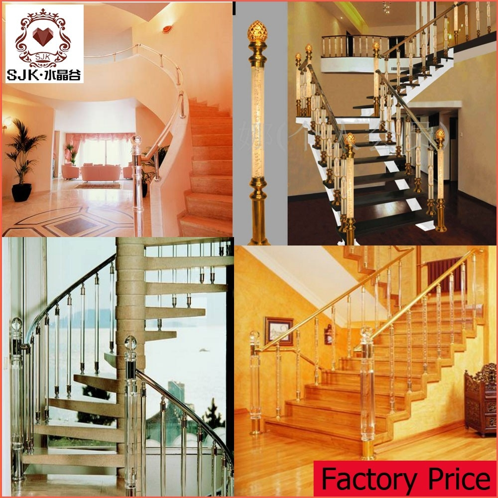 New Design Indoor Modern Baluster Acrylic Stair Railing | Stair Banisters For Sale