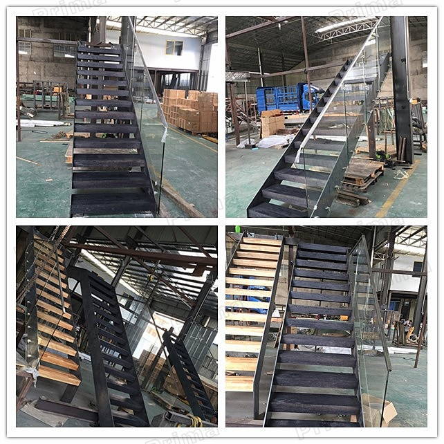 Metal Outdoor Stairs Steel Wood Floating Staircase | Prefab Wooden Steps Outdoor