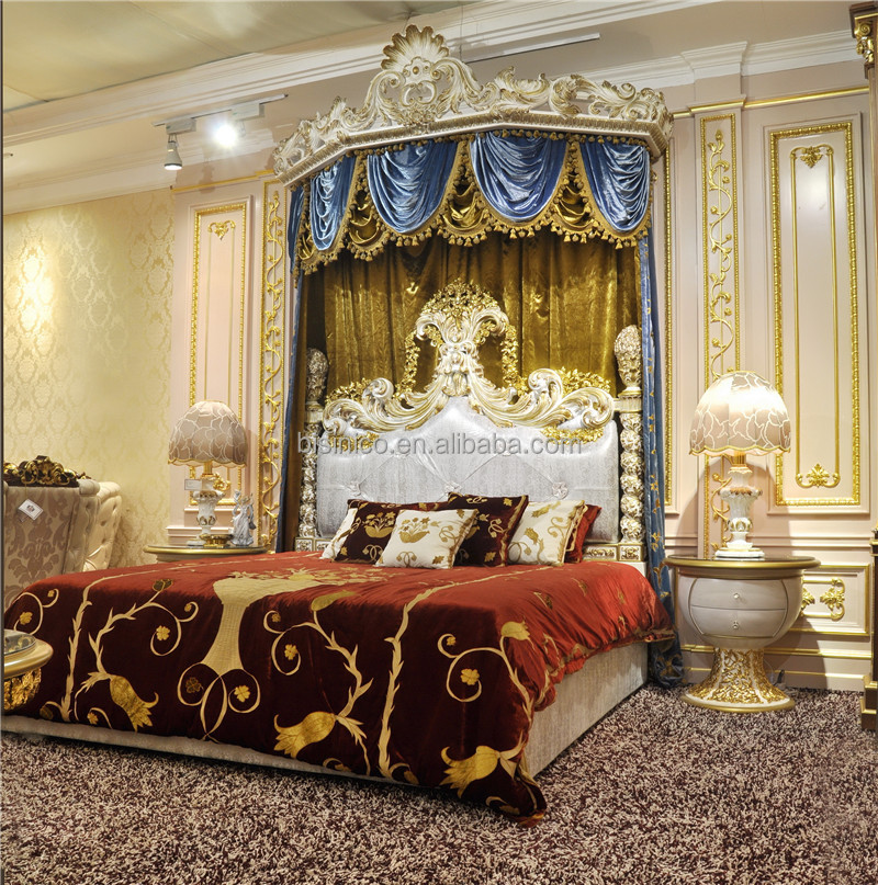 Royal Crown Upholstery Canopy Bedroom SetItalian Style