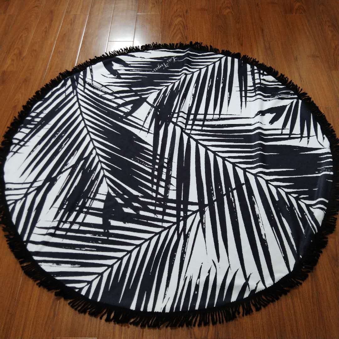custom design durable round beach towel 100% microfiber with tassel fring