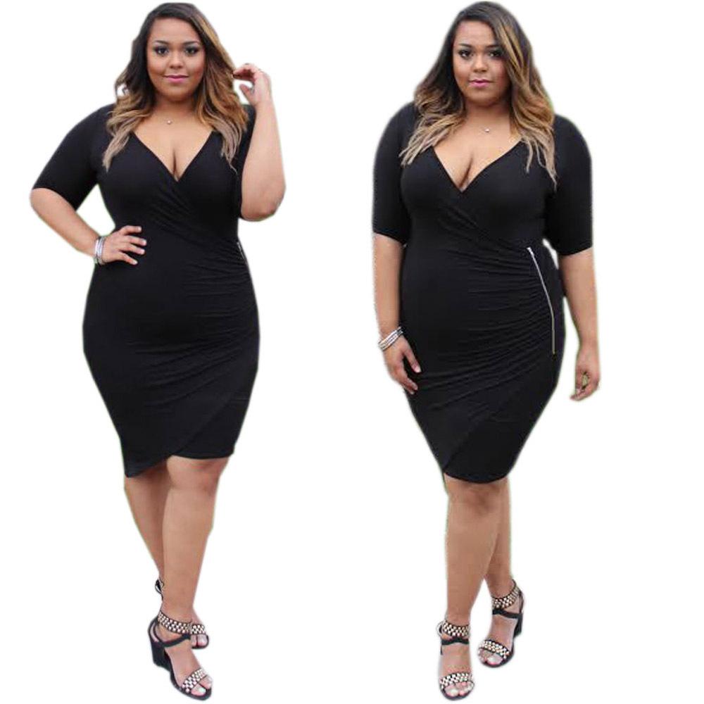 F20461a New Fashion Fat Women Dresses Deep V Neck Slim ...
