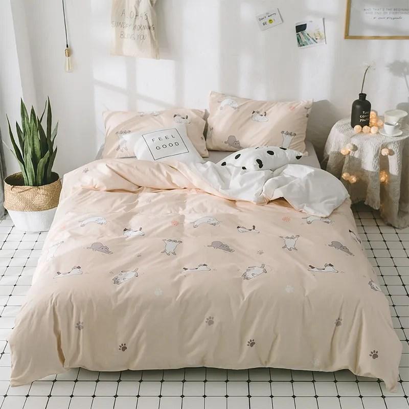 100 coton doux literie moderne ensembles de lit draps housse de couette avec chat motif delicat pour salon buy draps en lin linge de lit pour