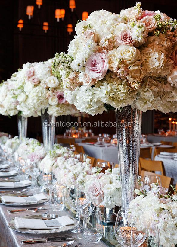 Cheap Tall Glass Vase For Wedding Flowers Arrangement