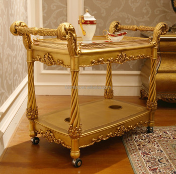 Fancy French Home Dining Room Wooden Food Service Trolley Luxury Golden Dining Cart Made Of