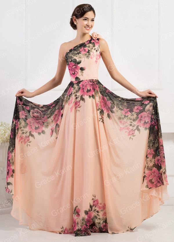 2015 Grace Karin Elegant Floral Printed One Shoulder ...