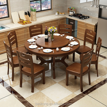 Dining Room Furniture Solid Wood Rotating Dining Table
