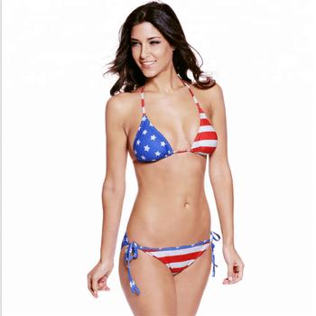 Oem Wholesale Country National Flag Bikini Sexy Girls Two Piece Swimwear