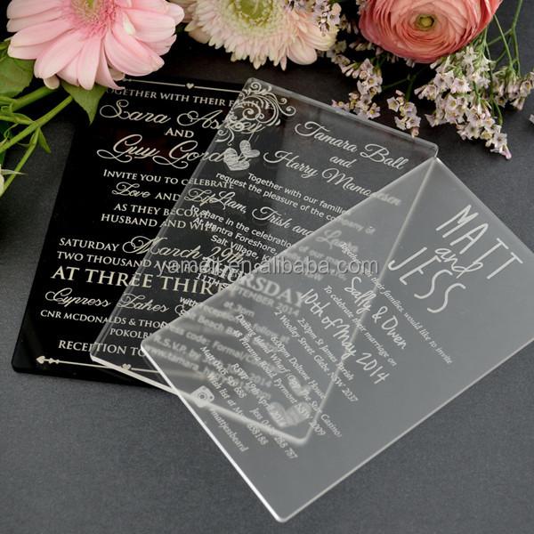 China Supplier Custom Acrylic Elegant Wedding Invitations