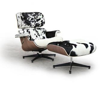 replique charles salon fauteuil avec pouf en poney peau