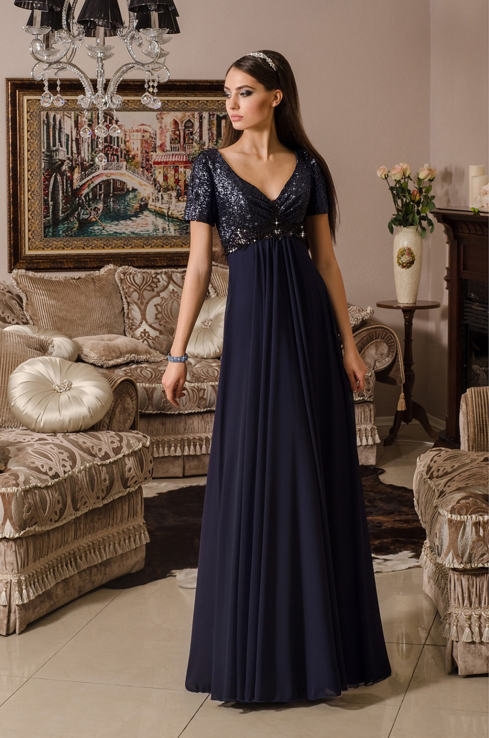 Akd-05 Plus Size Formal Party Evening Gown 2015 Navy Blue ...