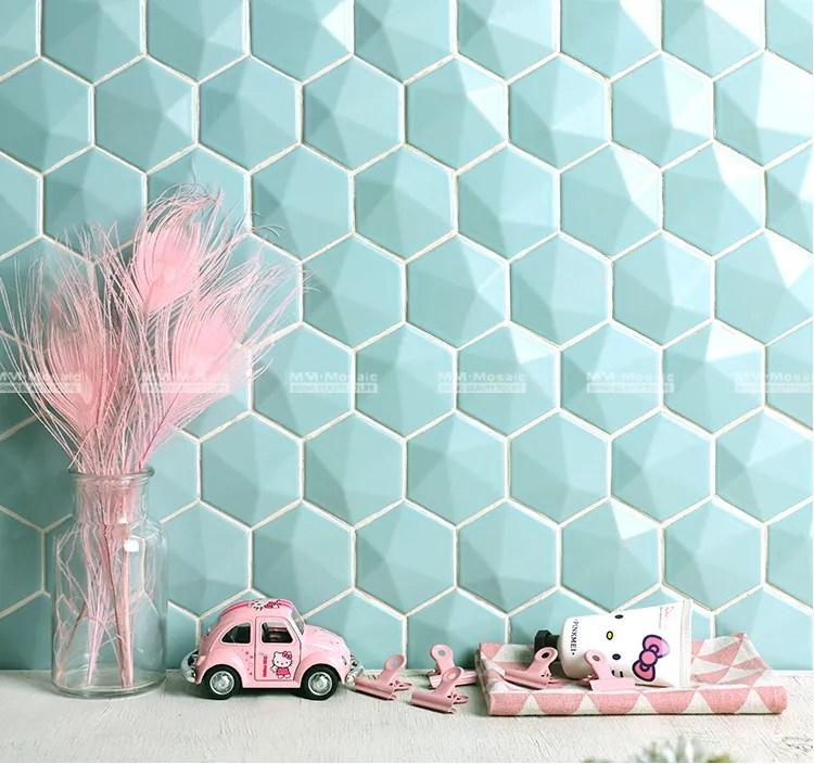 carrelage hexagonal en ceramique 3d dosseret de cuisine carreaux colores mat en mosaique couleur bonbon vert prix d usine buy tuile hexagonale