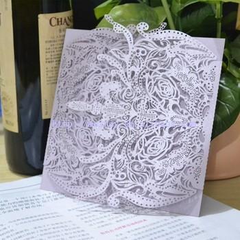 Lilac Wedding Cards Light Purple Invitations Laser Muslim Invitation Card Cut Product On