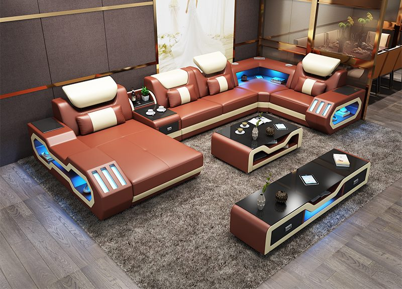 HTB1ToZ SwHqK1RjSZFEq6AGMXXai Custom made modern design LED lights Music player living room sofa set leather sofa