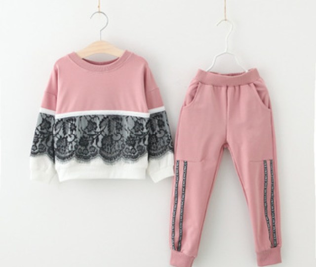 Girls Sports Suits Fashion Teenage Girl Clothing Sets  Spring Autumn Lace Letter Coat Outfit Clothes