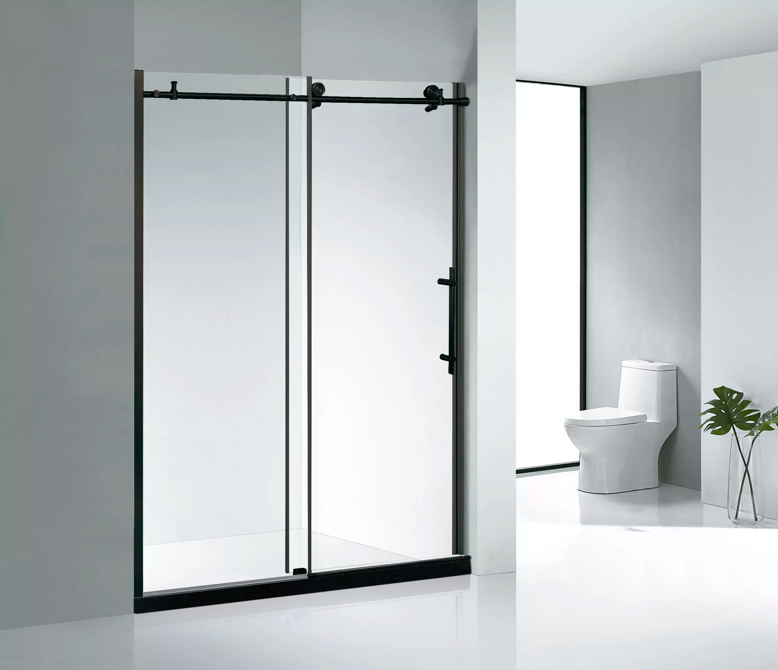 Factory Price Matte Black Bathroom 48 Inch Sliding Frameless Glass Door Shower Enclosure Kd8013c Buy Bathroom Sliding Glass Door Frameless Sliding