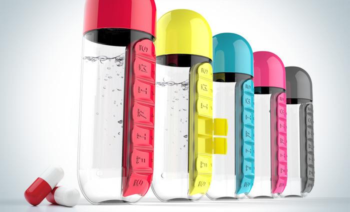 HTB1WPqqg22H8KJjy0Fcq6yDlFXaD 600ml Sports Plastic Water Bottle Combine Daily Pill Boxes Organizer Drinking Bottles Leak-Proof Bottle Tumbler Outdoor
