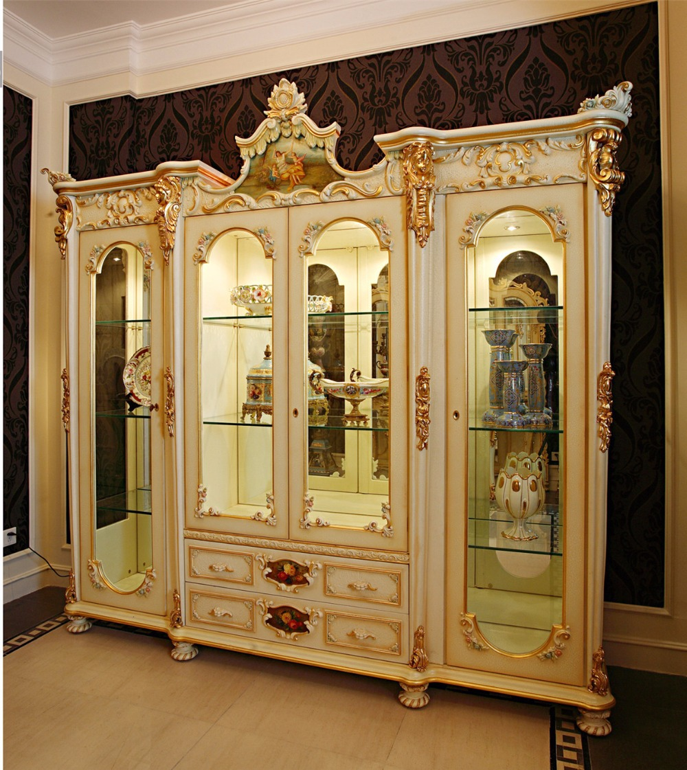 Luxury French Rococo Style White Stuy Room Bookcase Palace Fancy Wood Carved Display Cabinet Antique Book Cabinet Buy White Wooden Display