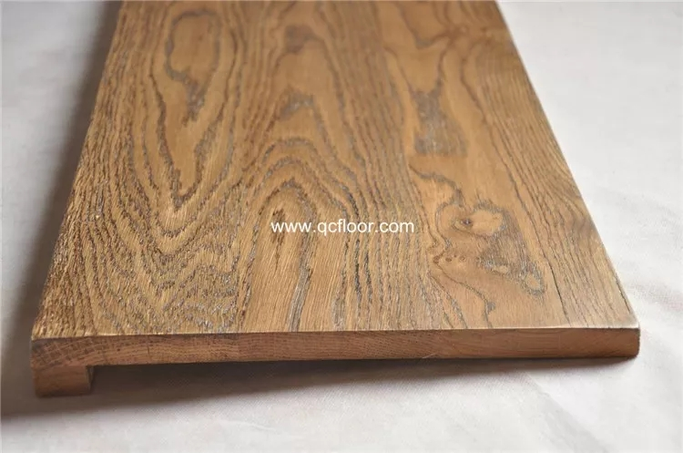 Solid Oak Stair Tread With Square Edge Dark Walnut Color China   Solid Oak Stair Treads   Landing   Laminate   Rectangle   Metal Stair   Riser