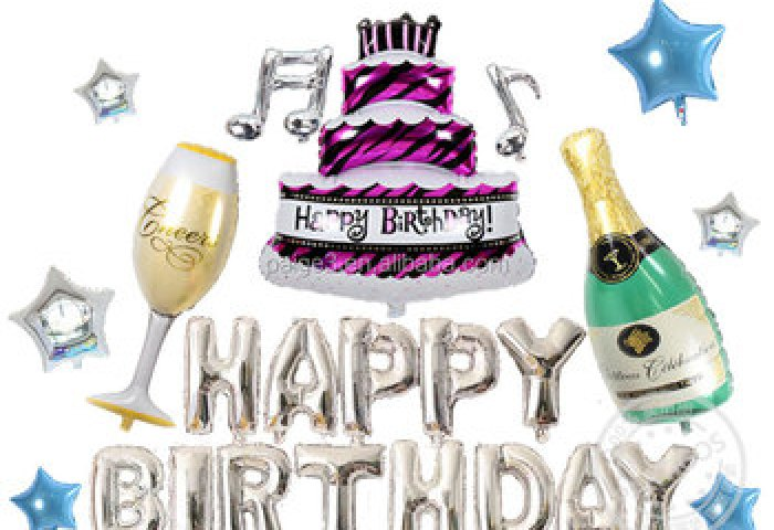 Inflatable Happy Birthday Letter Champagne Bottle And Glass Big