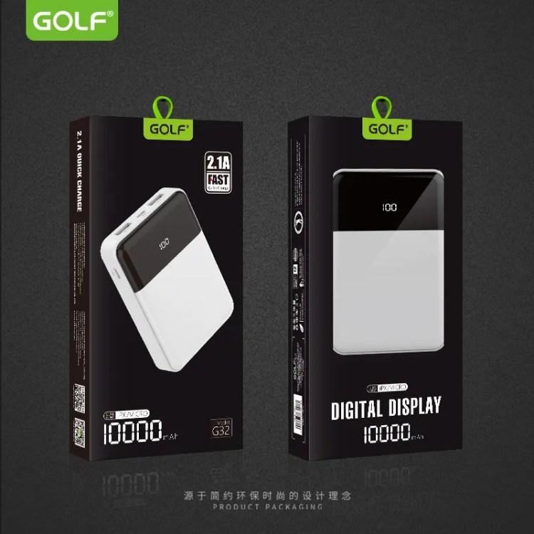 Professional manufacturer GOLF new product LCD digital display ultra-slim 10000mAh portable power bank