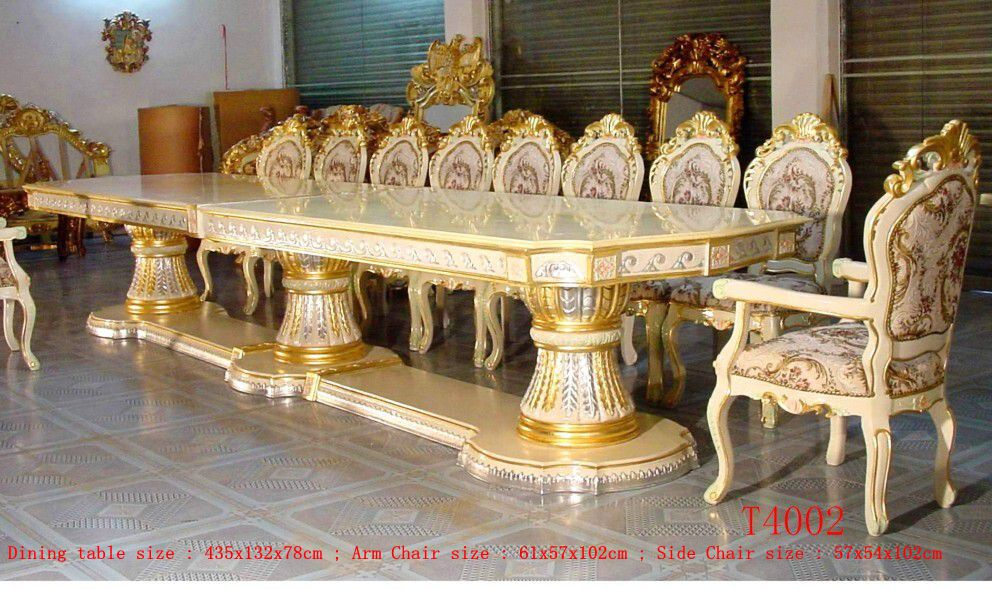 Royal Palace 435cm Silver Gold Gilded Carved Long Big