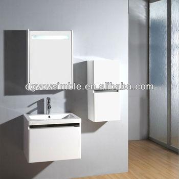 fixe au mur peinture brillante mdf armoire de toilette blanc vanite de salle de bains