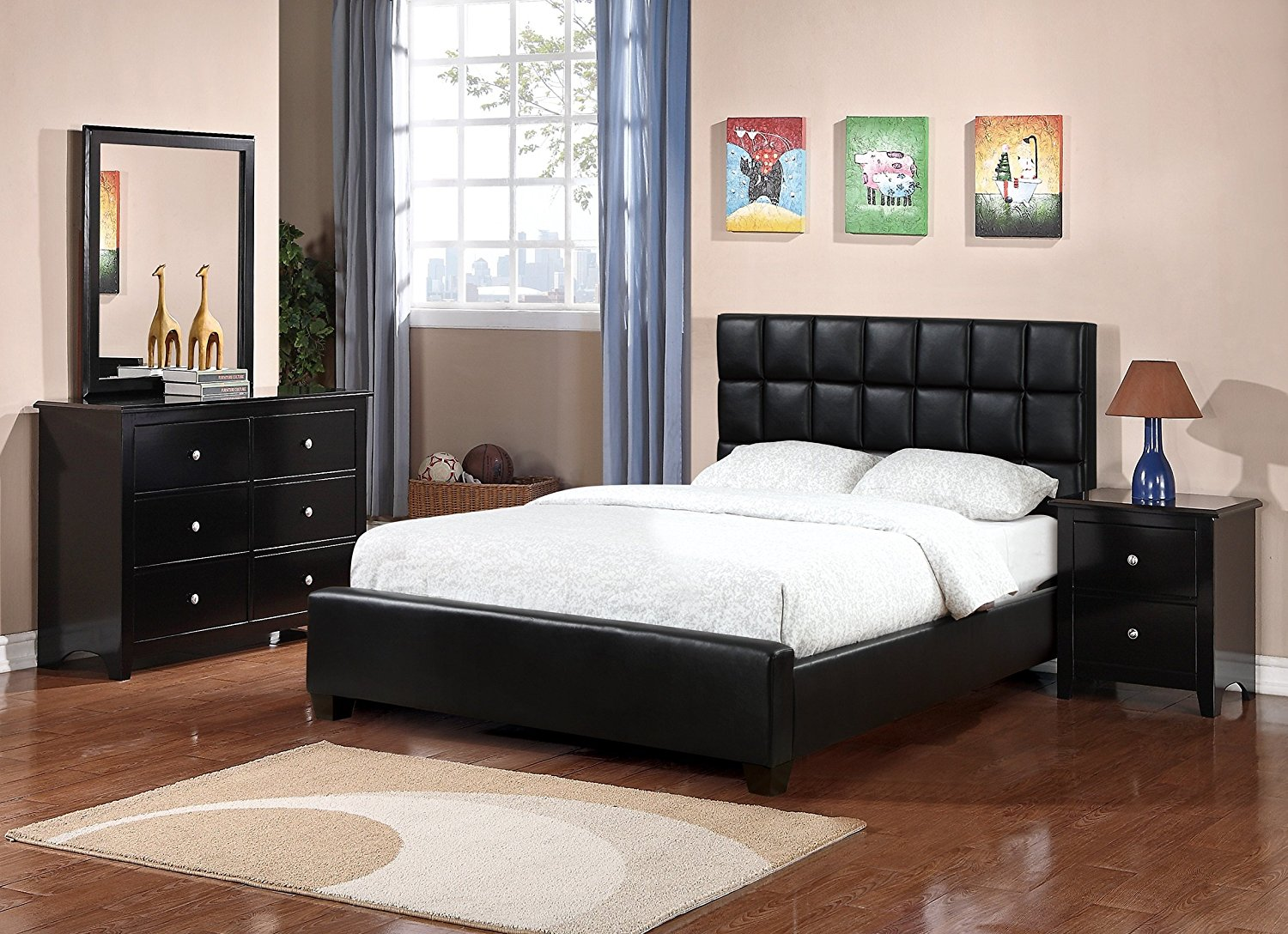 Buy Modern Black Faux Leather 4pc Set Bedroom Furniture Full