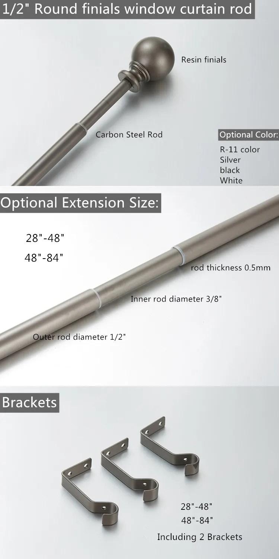 wholesale cheap basic model 1 2 single extendable curtain rods with round finials set buy durable curtain rod in dubai adjust curtain rod bracket