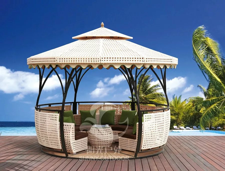 rattan gazebo with pe rattan cover iron frame polyester fabric wpc floor buy outdooring patio set modern outdoor furniture outdoor garden tent and