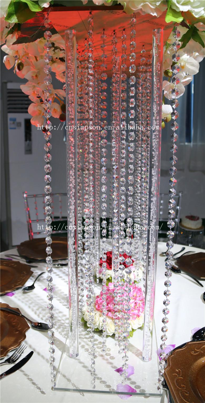 Tall Square Acrylic CenterpieceCrystal Wedding Flower