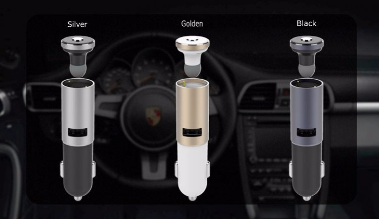 Two-in-one Smart Wireless USB Car Charger With Bluetooth Headset
