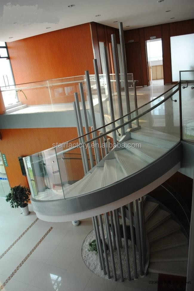 Fashion Curve Shape Staircase Steel Spiral Staircase Glass Rails | Spiral Staircase With Glass Railing | Exterior | In India Staircase | Stair Wood Bracket | Glass Insert | Inside Glass