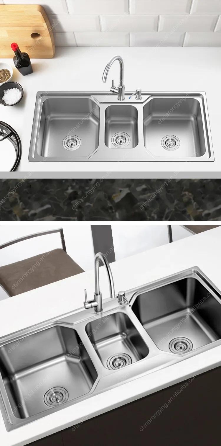triple bowl kitchen sink view kitchen