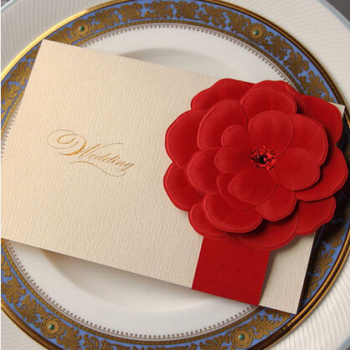 Ivory Wedding Invitation Card With Red Paper Craft Flower Design Cw2033
