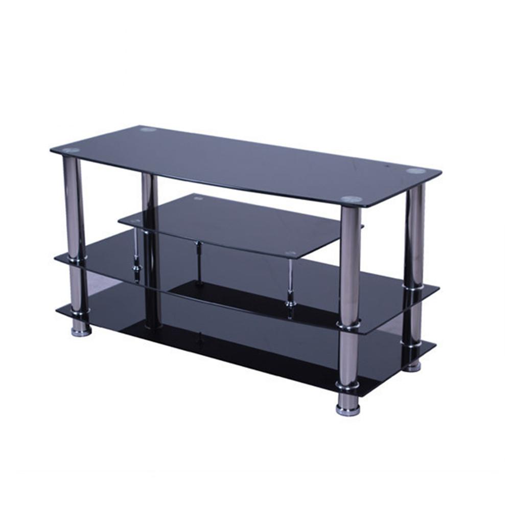 support tv economique en verre noir simple modele d exposition tv avec pied en acier inoxydable 11 pouces buy meuble tv en acier inoxydable supports