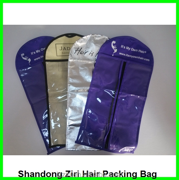 Clear Plastic Stand Up Ziplock Bag For Extensionhair
