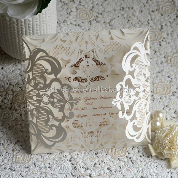 Customized Luxury Invitation Laser Cutting Wedding Flower Design Gift Card