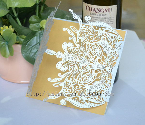 New Arrival Party Supplies Wedding Favors Laser Cut Light Purple Vintage Invitations Luxury