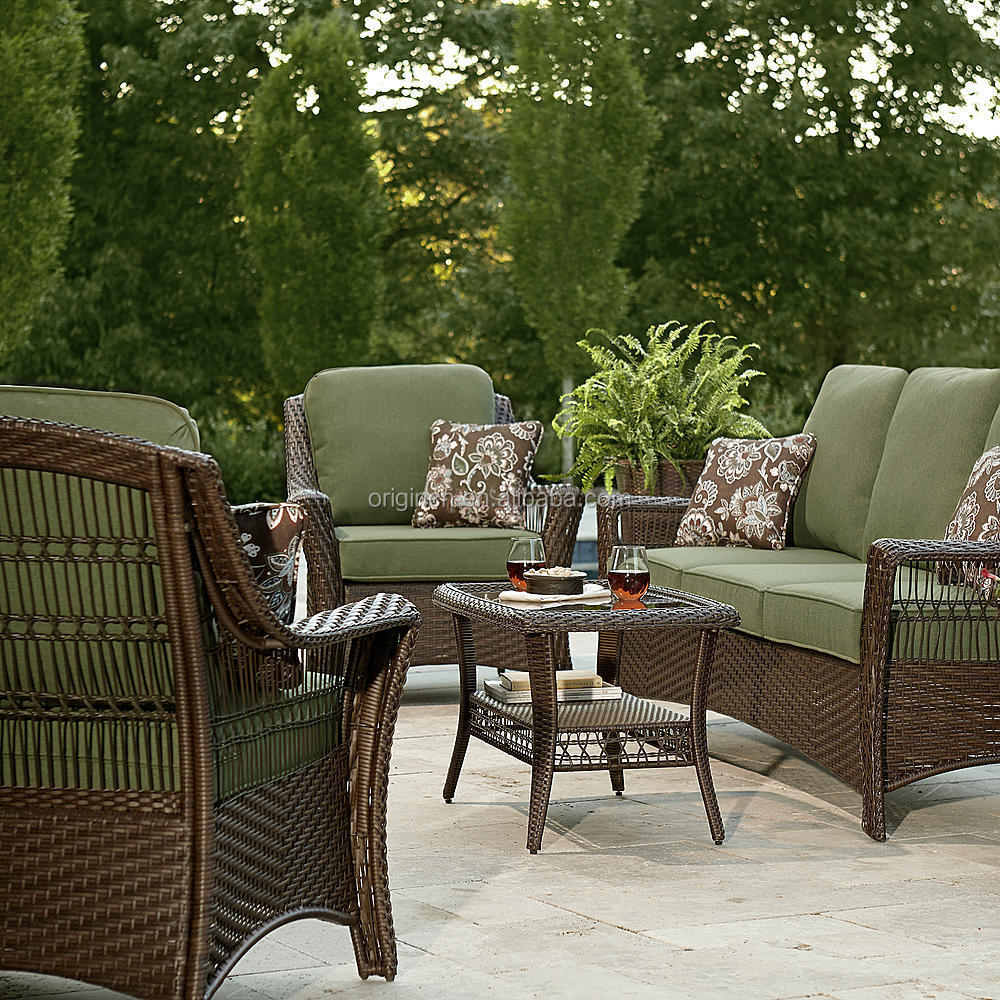 Green Color 5 Piece Patio Set Resin Wicker Outdoor ... on Fine Living Patio Set id=88426