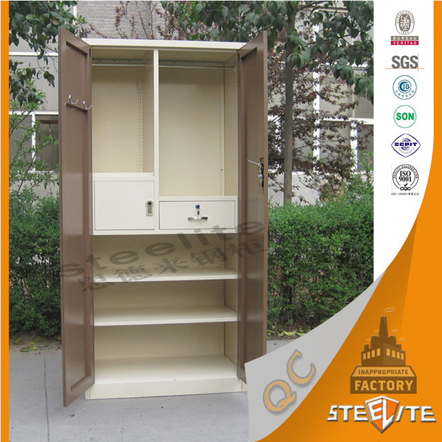 Hot Indian Bedroom Sets Design Metal Clothes Cupboard Steel Wardrobe With Drawer