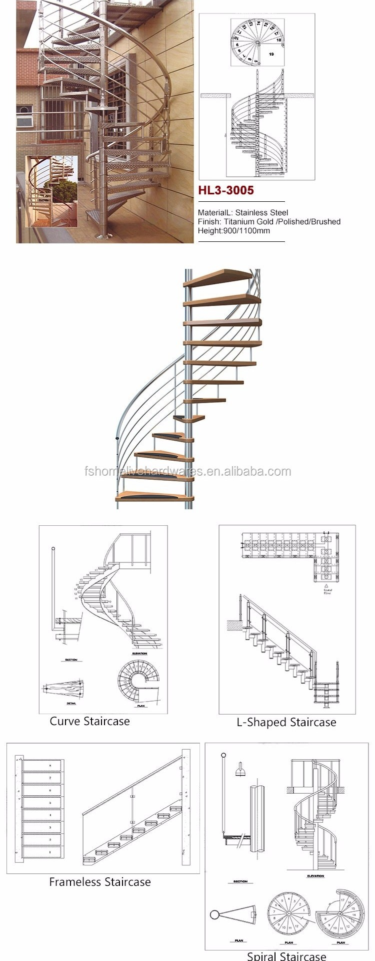 Cheap Buy Open Plan Standard Staircase Types Of Beautiful | 10 Ft Spiral Staircase | Handrail | 36 Tall | Arke Phoenix | Stair Kit | Arke Enduro