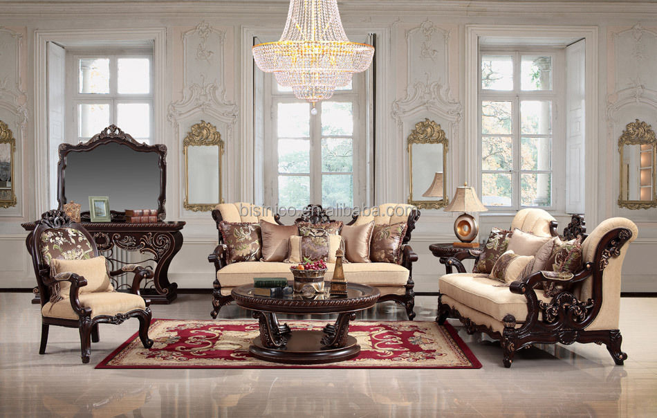 Victorian Style Luxurious Solid Wood Hand Caved Fabric